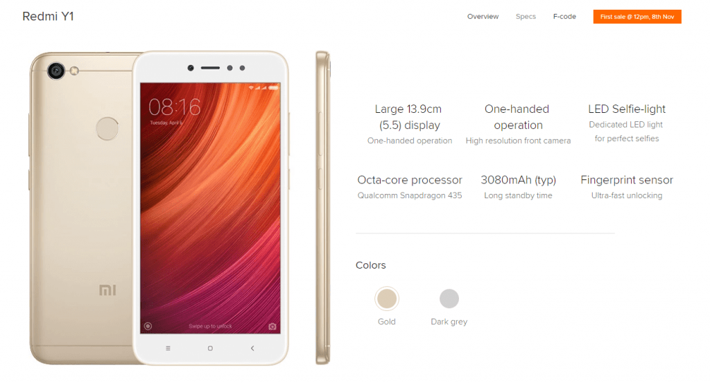 Xiaomi Redmi Y1 Specifications