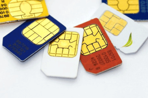 An array of Mini-SIM cards