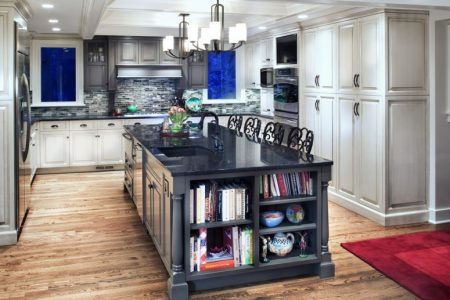 beautiful gray kitchen island design with shelves on the end for books and ceramic 775x620