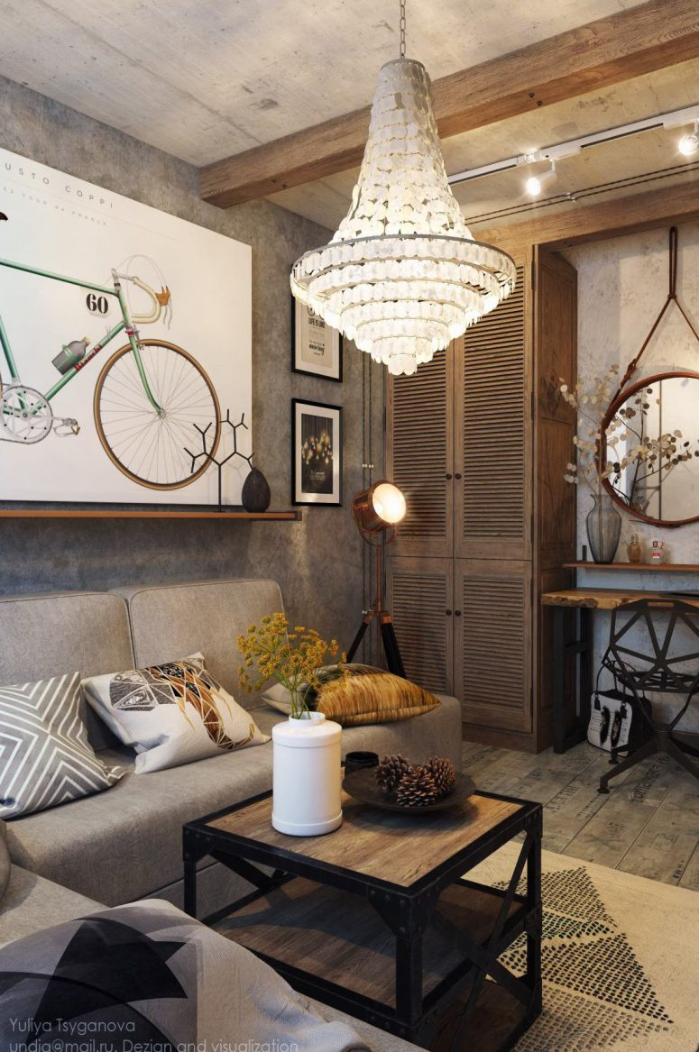 High Even Lamps Are Truly Industrial Reing Those Film Ones Industrial Living Room Design Grey Tones Digsdigs Industrial Living Room Furniture Industrial Living Room Set houzz 01 Industrial Living Room