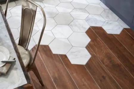 28 hexagon tiles and dark wood floors