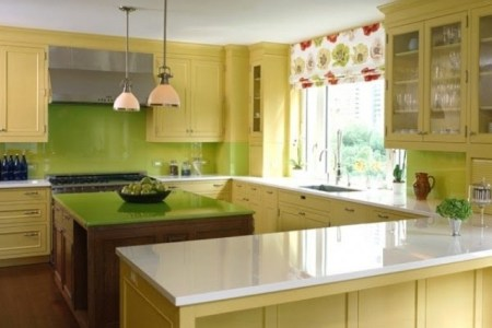 cheerful summer interiors green and yellow kitchen designs 23
