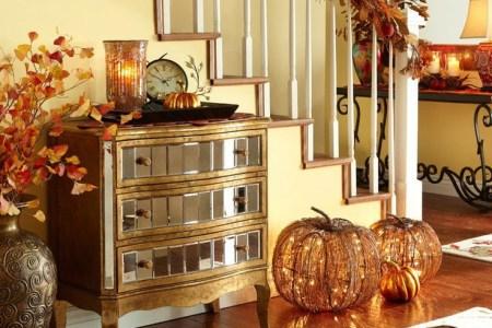 cozy fall staircase decor ideas 15
