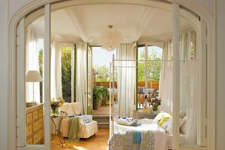 romantic bedroom design with semicircular windows 1