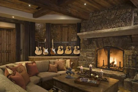 rustic traditional house design great room