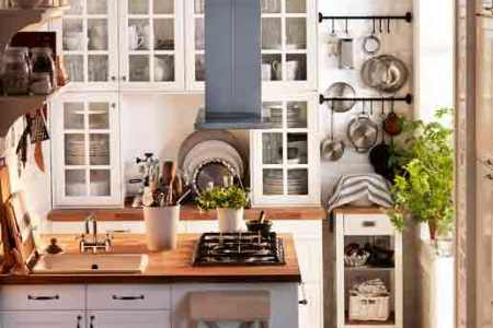small kitchen with lots of vertical storage space