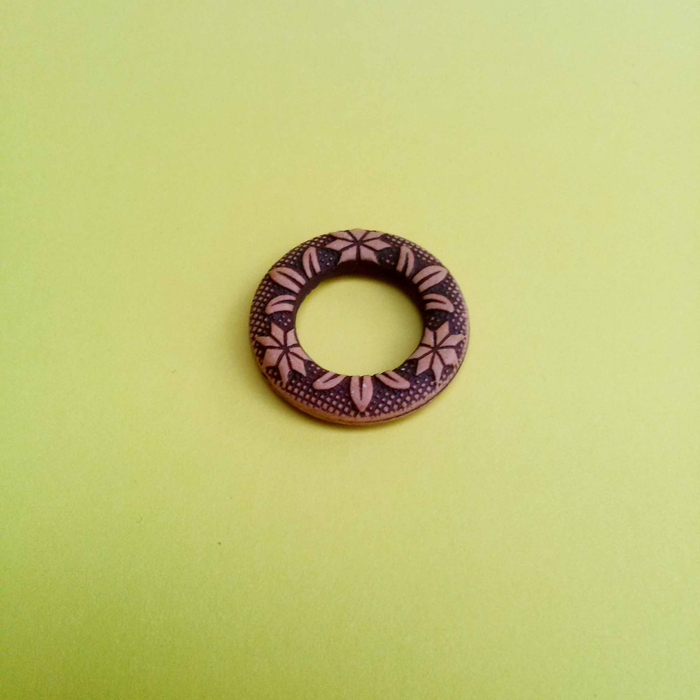 Small Circle Wooden Charm