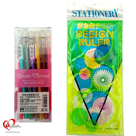 Spirograph Deluxe Drawing Circle Designs Set + 12 Colors of Gel Pens