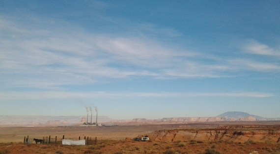 Over the ridge from the LeChee Chapter is Navajo Generating Station on Nov. 12, 2013. Photo by Marley Shebala