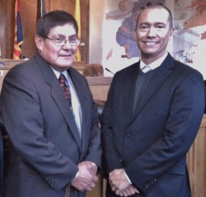 Navajo Council Delegate LoRenzo Bates, who is also Budget & Finance Committee chairperson, and Navajo Transitional Energy Company, LLC, President Steve Gunderson at the Navajo Nation Council chamber in Window Rock, Ariz.  Photo by Marley Shebala