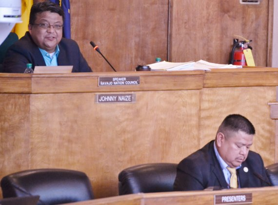 (L-R) Navajo Council Speaker Pro Temp Delegate Edmund Yazzie presides over the Council during debate for removal of Delegate Johnny Naize as speaker on April 4, 2014. Delegate Alton Shepherd sponsored the legislation for removal of Naize. Photo by Marley Shebala