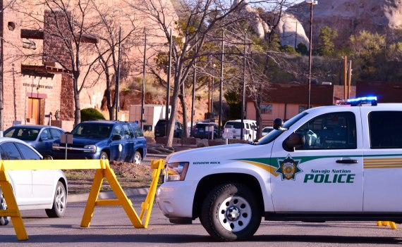 The Navajo Nation police blockage at the entrance to the Navajo Council chamber road in Window Rock, Ariz., on April 21, 2014, is now down. It was erected about 7:30 a.m. and lifted about 8:30 a.m. There is still a police presence. Photo by Marley Shebala.