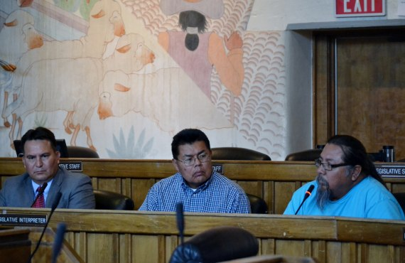 (L-R) Navajo Council Delegate Dwight Witherspoon, Navajo Transportation Division administrator Bradley, and Hard Rock Chapter President Ted Johnson hit a wall called Delegate Leonard Tsosie in their effort to get remote bus route paved that goes through Hopi and Navajo Reservations. Photo by Marley Shebala. (Please provide proper photo credit when reusing photo.)