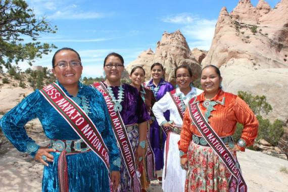 Contestants for the 2014 Miss Navajo Nation competition. (L-R) Koltey Jonnalea Tso – Cove, Arizona/Northern Agency; Farrah Fae Mailboy – Lukachukai, Arizona/Central Agency Contestant #3: McKeon Kova Dempsey – Oaksprings, Arizona/Fort Defiance Agency Contestant #5; Ronda Joe – Rock Point, Arizona/Central Agency Contestant #6:  Shannon Lynnise Gorman – Chinle, Arizona/Central Agency Contestant #4, and Ann Marie Salt – Kayenta, Arizona/Western Agency Contestant #2. (Courtesy photo)