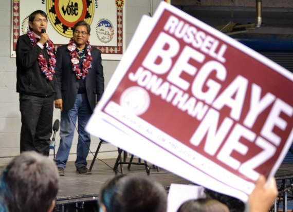 When it was obvious that Navajo Nation Vice President-elect Jonathan Nez and President-elect Russell Begaye had won the presidential election, they and hundreds of their supporters made a triumphant and very noisy entrance at the Sports Center at about 8 p.m. on April 21, 2015. Photo by Marley Shebala. (Please credit when reuing photo.)