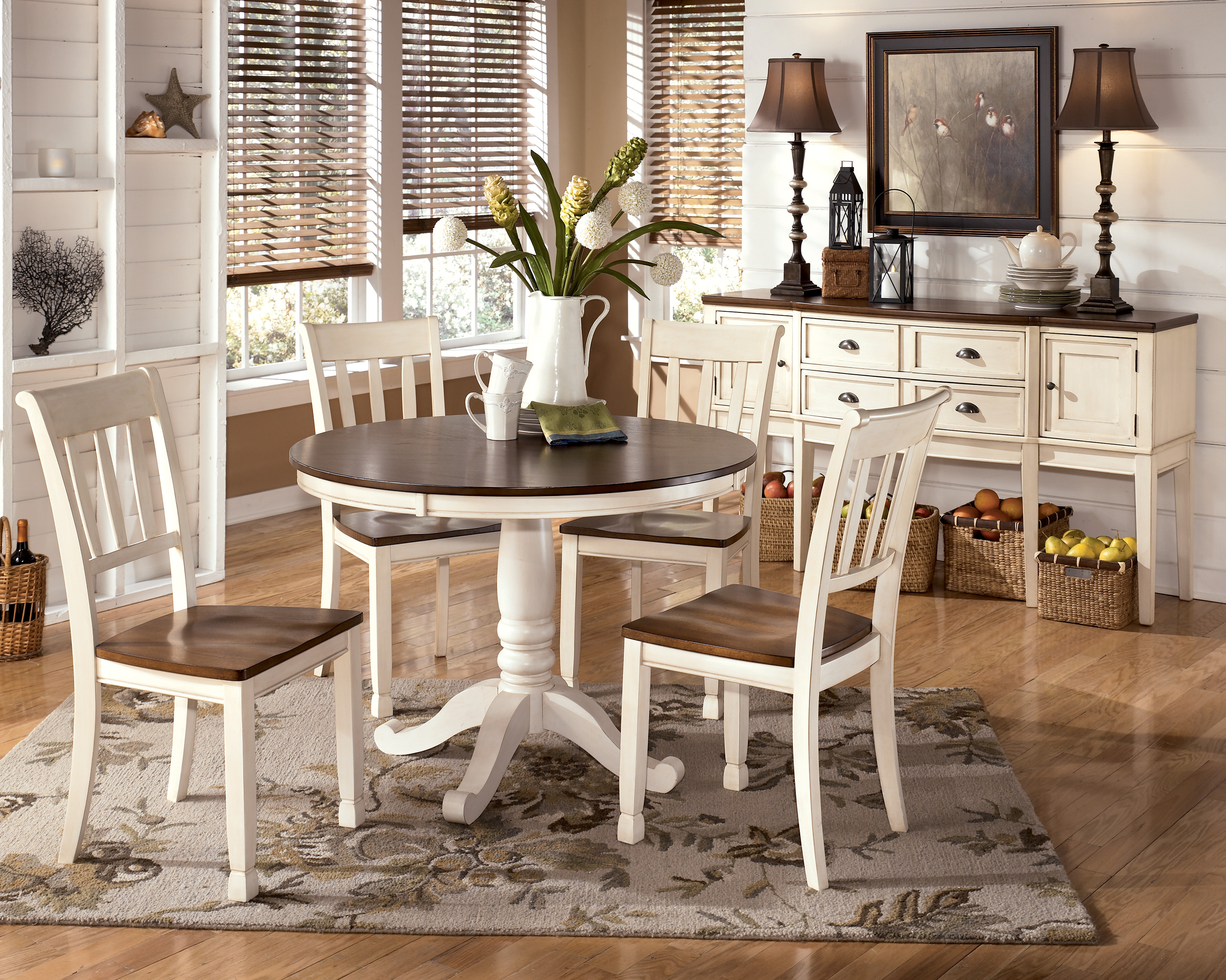 whitesburg 5 piece round dining table set in brown white white kitchen tables Whitesburg 5 Piece Round Dining Table Set in Brown White by Dining Rooms Outlet