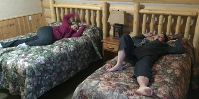 testing out the comfy beds in our cabin