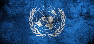 Grunge flag of United nations image is overlaying a detailed grungy texture