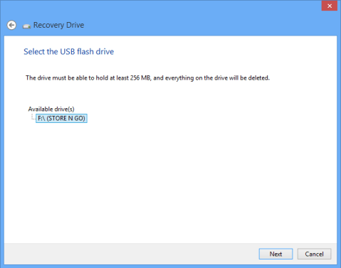 windows 8 recovery drive USB option