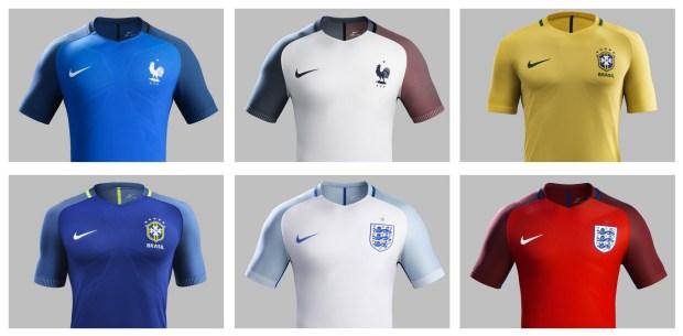(Top row: France home, France away, Brazil home; Bottom row: Brazil away, England home, England away)