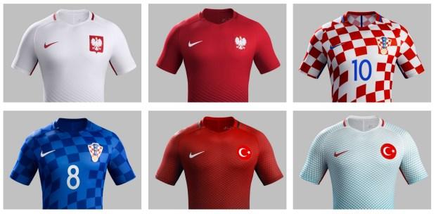 (Top row: Poland home, Poland away, Croatia home; Bottom row: Croatia away, Turkey home, Turkey away)