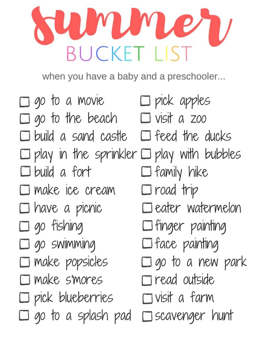 summer bucket list, summer, family, baby, preschooler