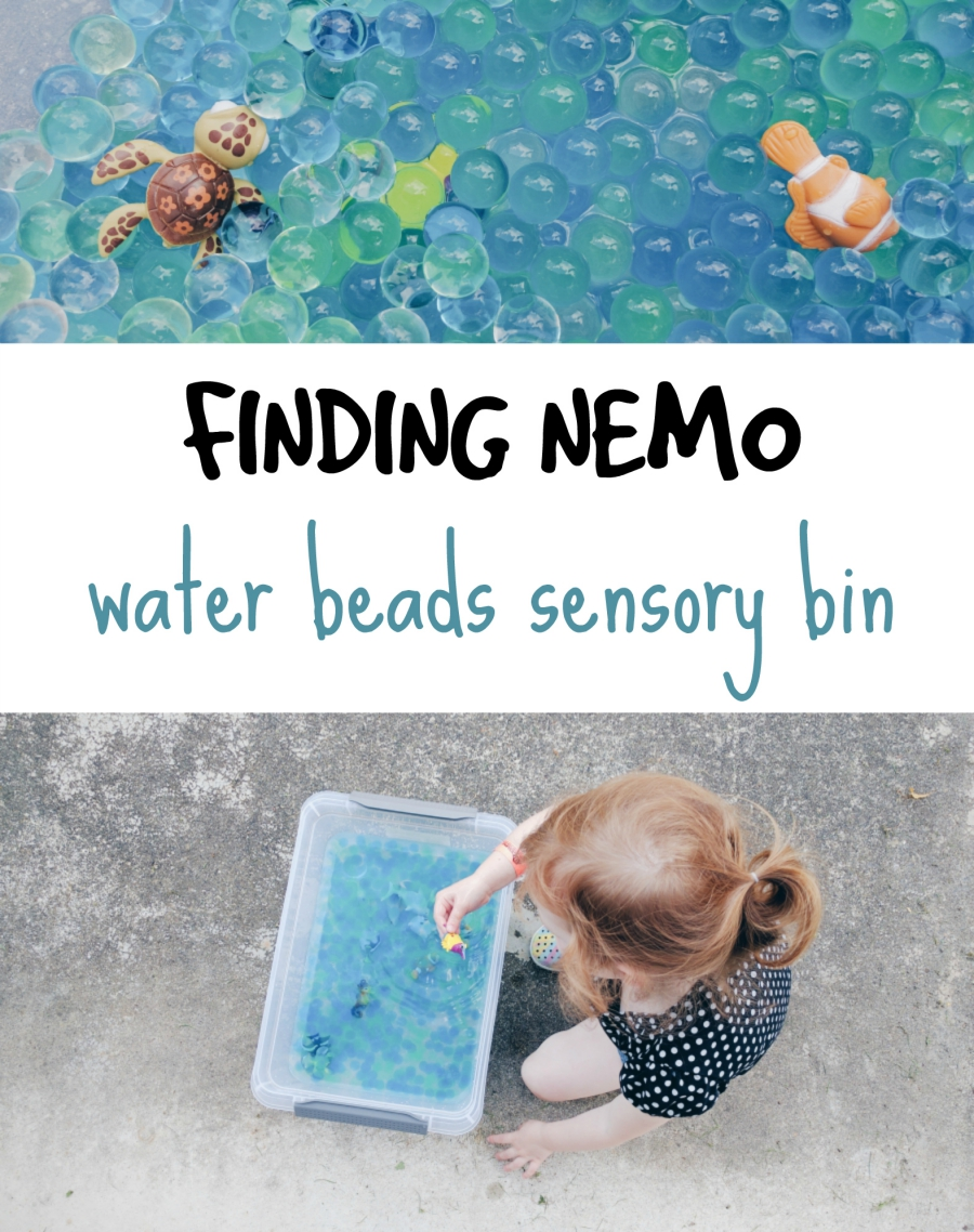 water beads sensory bin, finding nemo