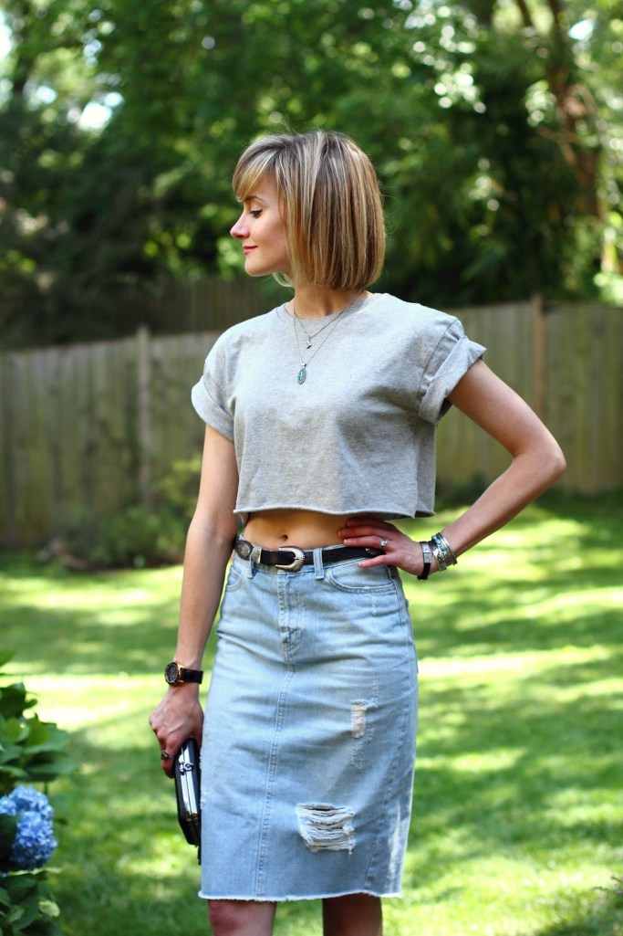 crop top, turquoise jewelry, and distressed denim skirt