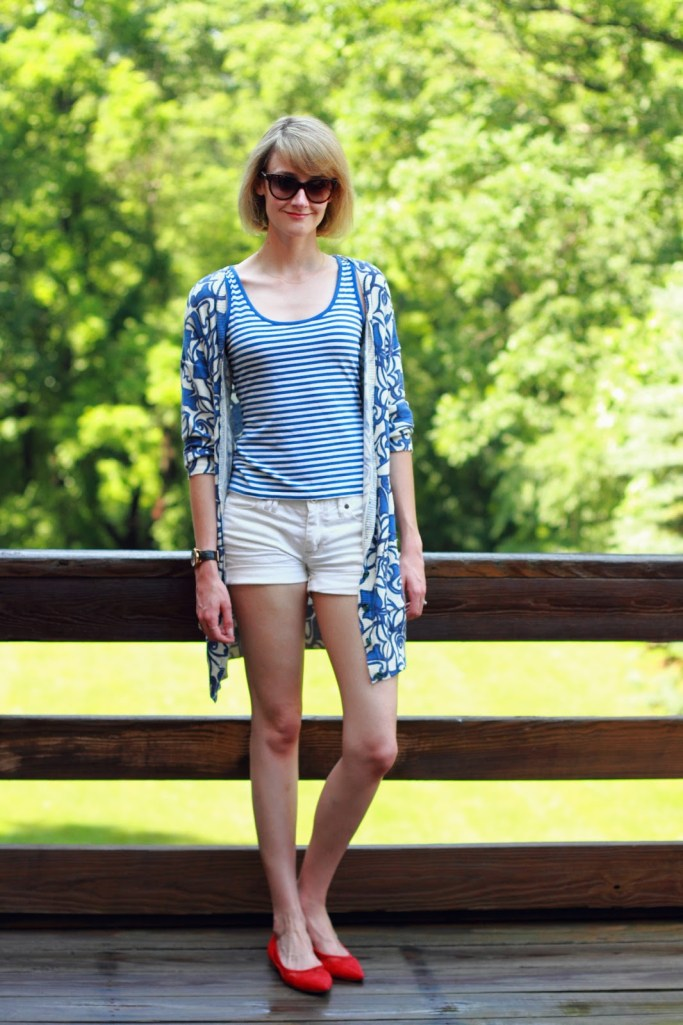 red, white, and blue outfit