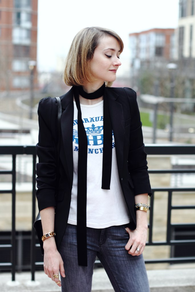 skinny scarf and blazer