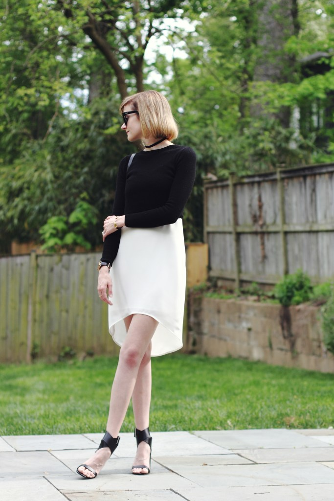 slip dress and cropped sweater