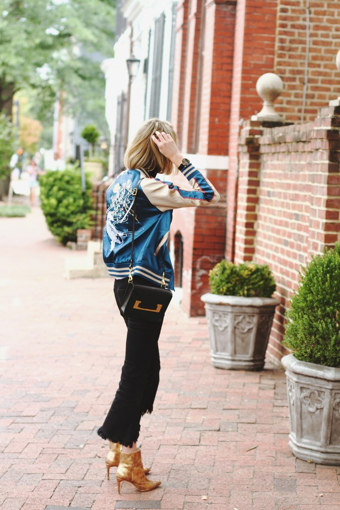 silk bomber, frayed denim and gold boots