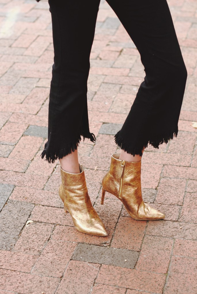 Genuine People frayed denim and gold ankle boots