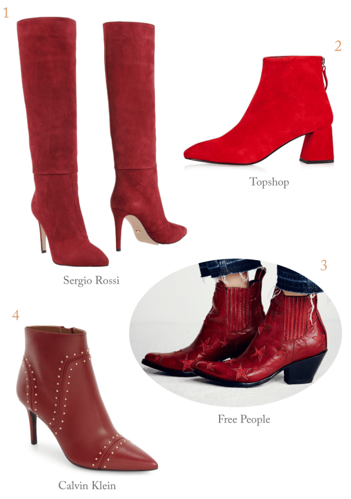 fall red boots shopping