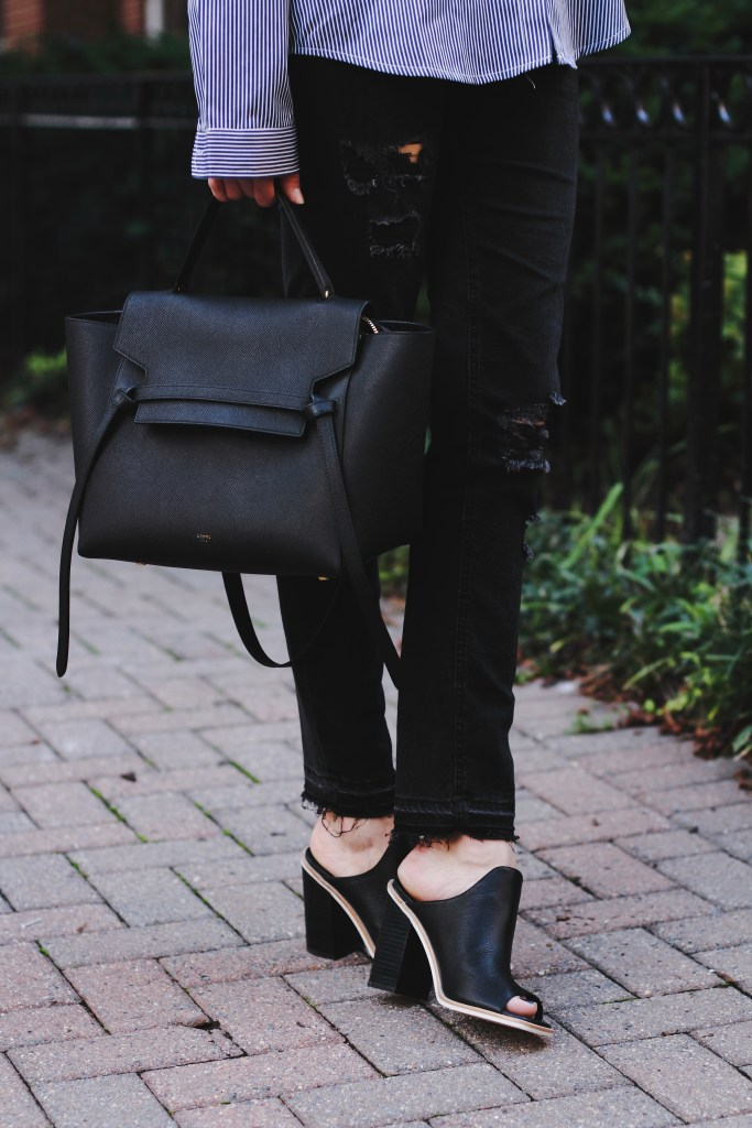 distressed jeans, Celine bag, and mules