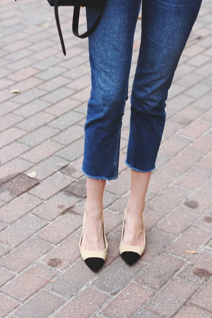 Topshop denim and Zara cap toe heels