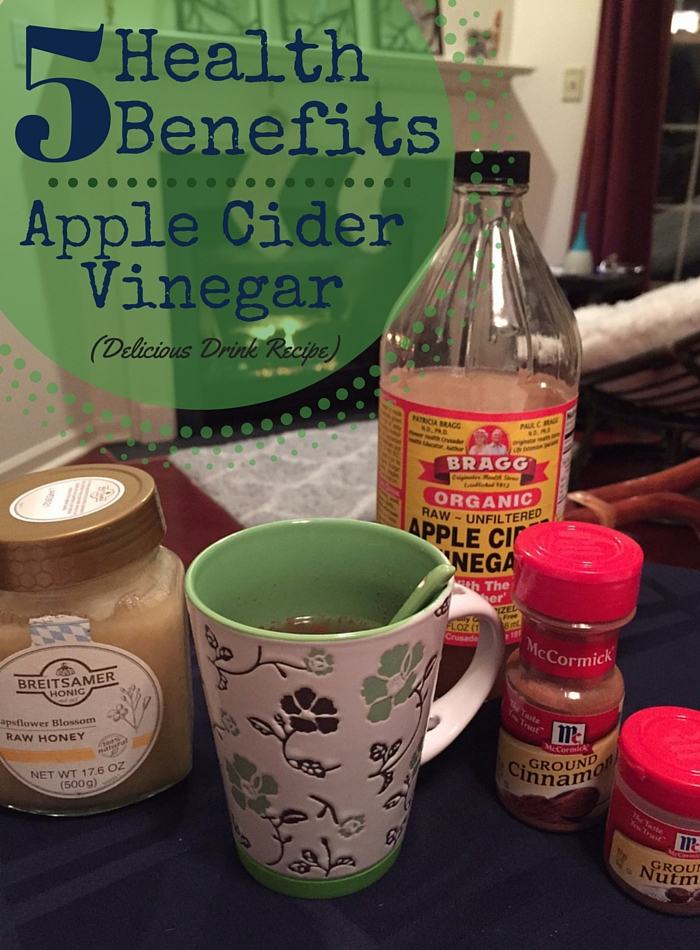 5 Health Benefits of Apple Cider Vinegar! Even if you hate vinegar you'll love this hot drink recipe that's included. Tastes just like apple cider!!