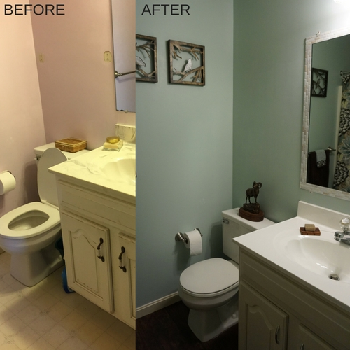 Before and after photos of cheap bathroom renovation with Homax