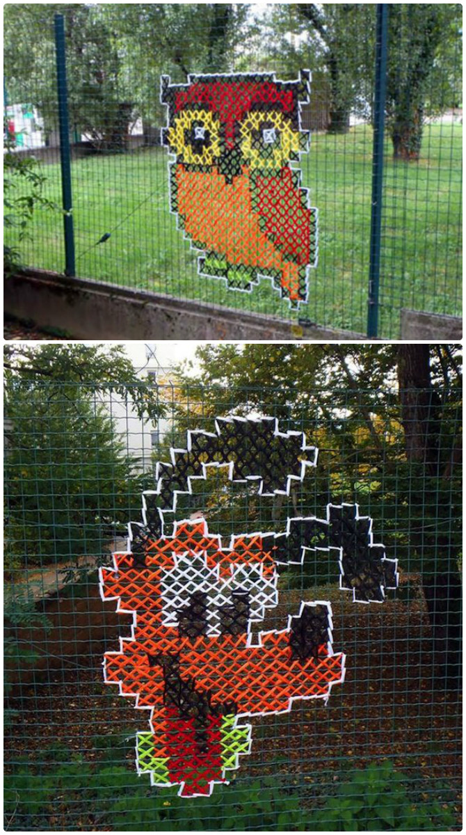 Perky Cross Stitch On Chain Link Fences Street Fence Decoration Makeoverdiy Ideas Backyard Garden Fence Decoration Makeover Diy Ideas Backyard Fence Clipart Outdoor Fence Art outdoor Backyard Fence Art