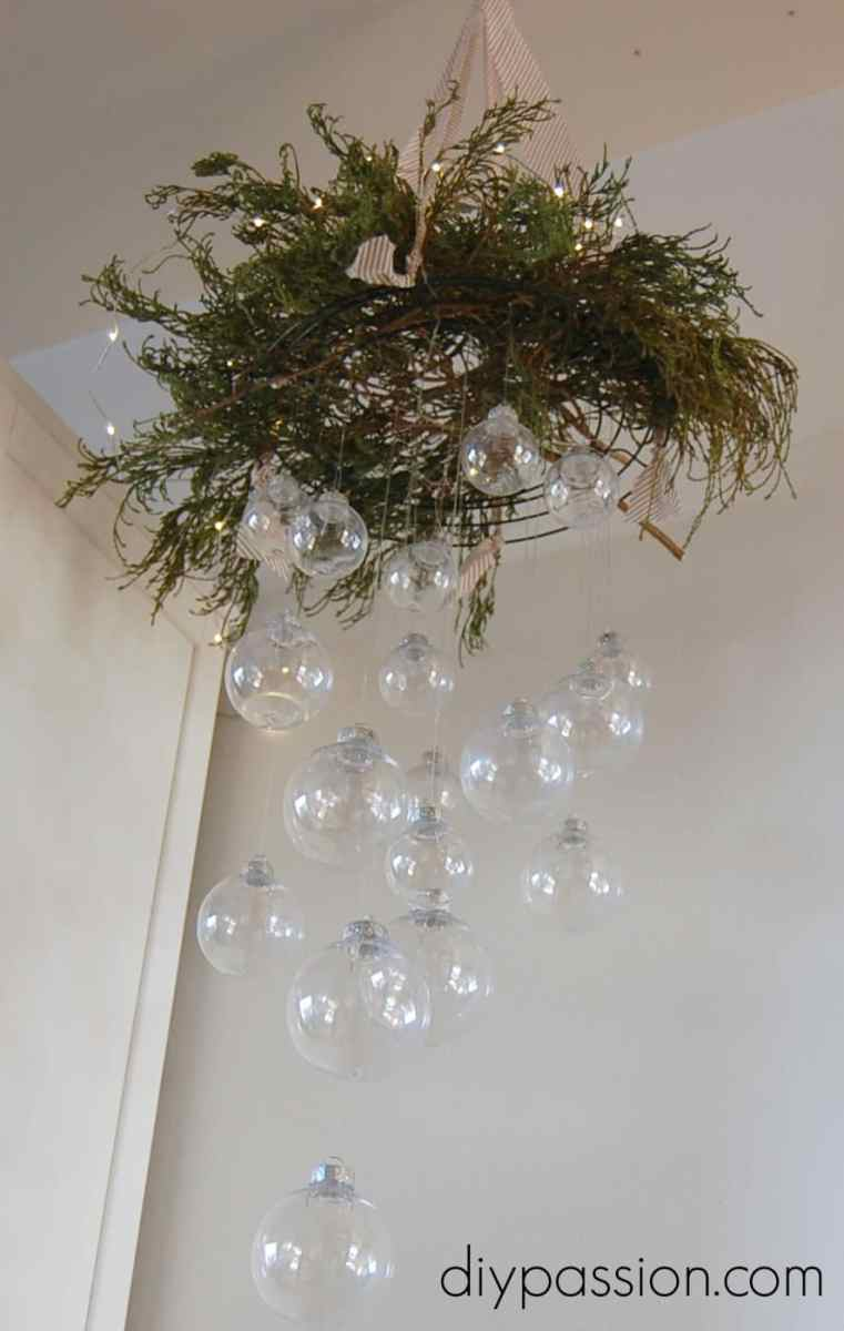 Clear Ornament Hanging Chandelier: Monthly DIY Challenge