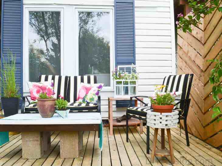 Bold patterns on an outdoor patio