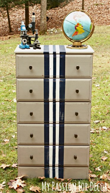 diy-striped-dresser