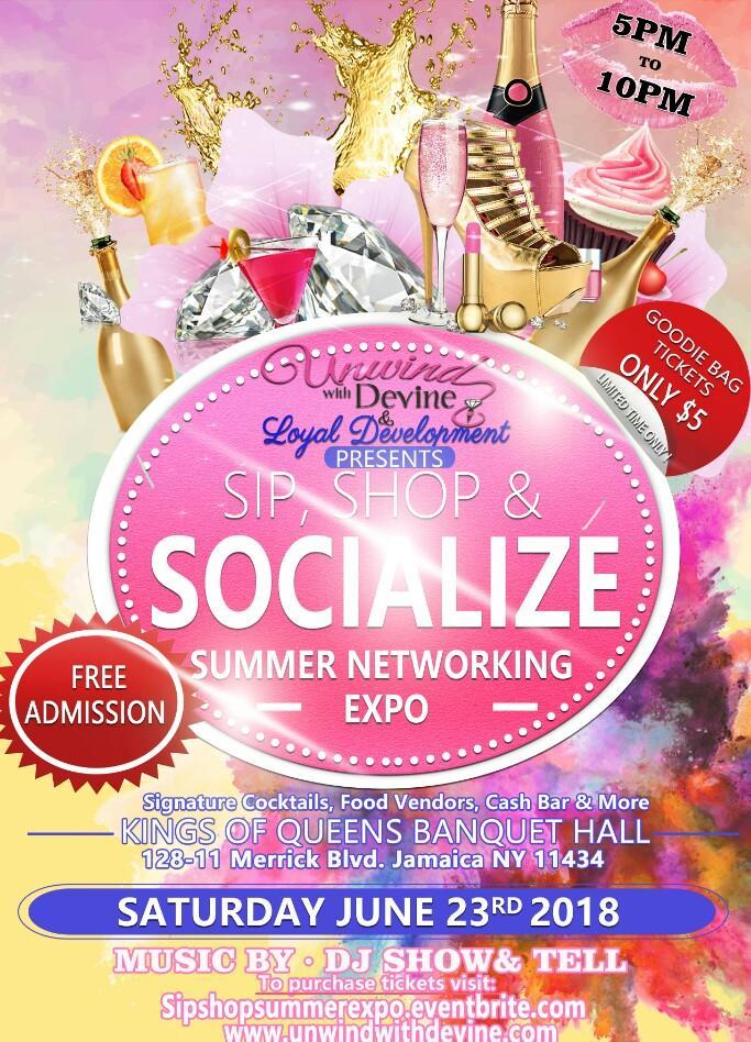 sat june 23rd sip shop socialize kings of queens banquet hall