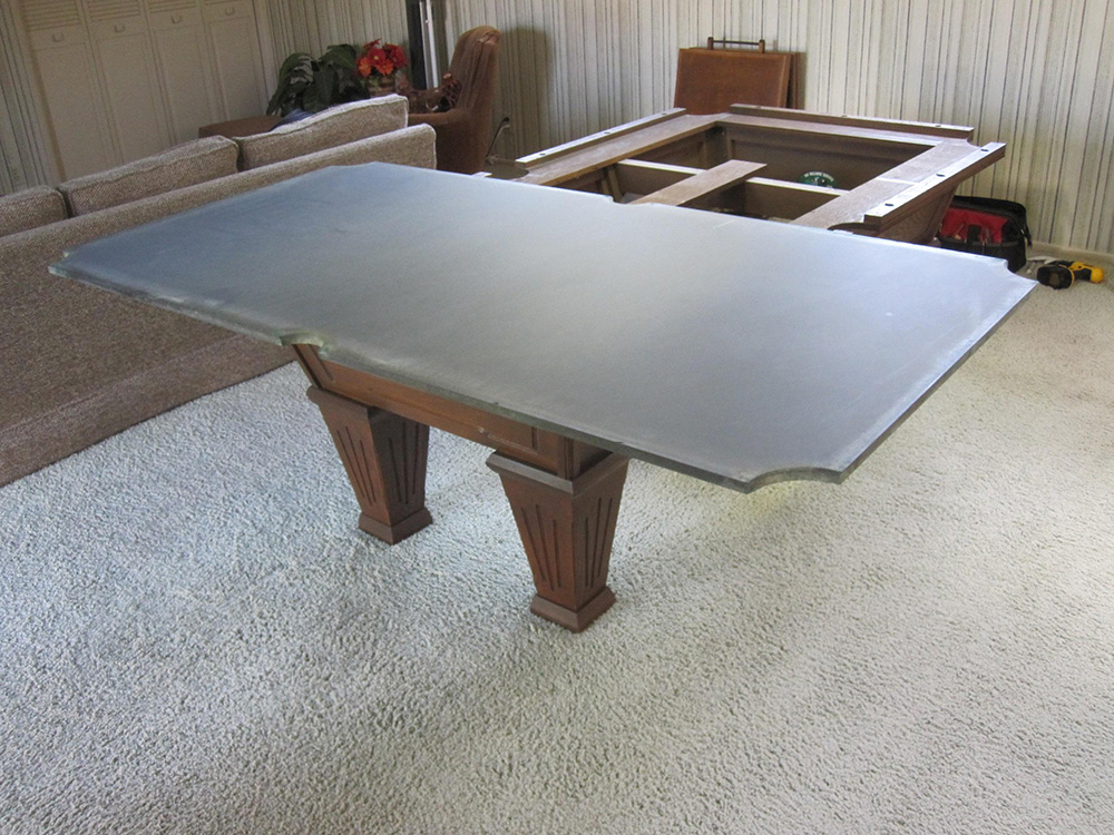 Recovering a one piece slate pool table dk billiards for 1 piece slate pool table