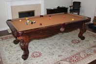 Finished with this 8 foot solid Maple Scottsdale with Millcreek stain and Camel worsted wool billiard cloth.
