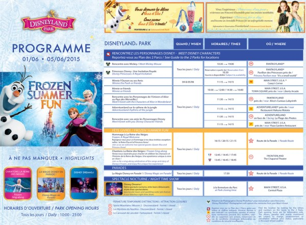 Disneyland Paris Frozen Summer Fun entertainment programme
