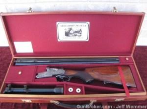 """Pre-War Krieghoff Sidelock """"Kurz"""" Drilling, 16g & 16g & 8mm x 57mm"""
