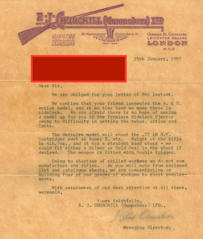 E.J. Churchill Letter, 1957