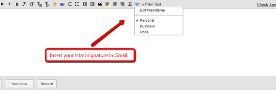 insert your html signature in gmail