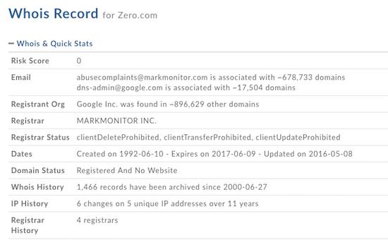 Google Owns Zero.com